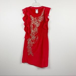 Anthropologie Yoana Baraschi Red Silk Dress C219